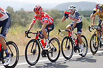 Race leader Red Jersey Kenny Elissonde (FRA) Trek-Segafredo during Stage 6 of La Vuelta d'Espana 2021, running 158.3km from Requena to Alto de la Montaña Cullera, Spain. 19th August 2021.    <br /> Picture: Luis Angel Gomez/Photogomezsport   Cyclefile<br /> <br /> All photos usage must carry mandatory copyright credit (© Cyclefile   Luis Angel Gomez/Photogomezsport)