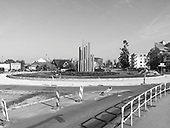 Wlodawa 19.10.2019<br /> A roundabout in Wlodawa, Lubelskie County, in the middle Socialist Realist architecture/sculpture<br /> Photo: Adam Lach