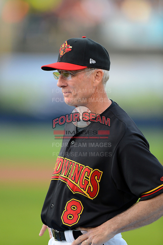 Former Rochester Red Wings outfielder John Valle #8 coaches first base during the MLB Pepsi Max Field of Dreams game on May 18, 2013 at Frontier Field in Rochester, New York.  (Mike Janes/Four Seam Images)