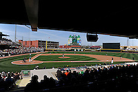 Stadium view of the Dayton Dragons game against the Bowling Green Hot Rods on April 21, 2013 at Fifth Third Field in Dayton, Ohio.  Bowling Green defeated Dayton 7-5.  (Mike Janes/Four Seam Images)