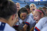 JACKSONVILLE, FL - NOVEMBER 10: Julie Ertz #8 and the USWNT huddle up during a game between Costa Rica and USWNT at TIAA Bank Field on November 10, 2019 in Jacksonville, Florida.