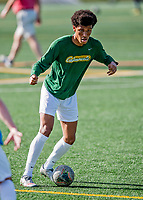 9 April 2021: University of Vermont Catamount Men's Soccer Midfielder Max Murray, a Freshman from Kennebunkport, Maine, warms up prior to facing the University of New Hampshire Wildcats at Virtue Field in Burlington, Vermont. The Catamounts fell to the visiting Wildcats 2-1 in America East, Division 1 play. Mandatory Credit: Ed Wolfstein Photo *** RAW (NEF) Image File Available ***