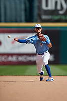 Buffalo Bisons shortstop Kevin Vicuna (63) throws to first base during an International League game against the Pawtucket Red Sox on August 25, 2019 at Sahlen Field in Buffalo, New York.  Buffalo defeated Pawtucket 5-4 in 11 innings.  (Mike Janes/Four Seam Images)