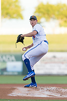 AFL West starting pitcher Nate Pearson (20), of the Surprise Saguaros and Toronto Blue Jays organization, delivers a pitch during the Arizona Fall League Fall Stars game at Surprise Stadium on November 3, 2018 in Surprise, Arizona. The AFL West defeated the AFL East 7-6 . (Zachary Lucy/Four Seam Images)