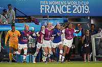 PARIS, FRANCE - JUNE 28: Adrianna Franch #21, Emily Sonnett #14, Becky Sauerbrunn #4, Mallory Pugh #2, Jessica McDonald #22 during a 2019 FIFA Women's World Cup France quarter-final match between France and the United States at Parc des Princes on June 28, 2019 in Paris, France.