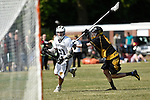 GER - Hannover, Germany, May 31: During the Men Lacrosse Playoffs 2015 match between ABV Stuttgart 1863 (white) and HTHC Hamburg (black) on May 31, 2015 at Deutscher Hockey-Club Hannover e.V. in Hannover, Germany. Final score 2:10. (Photo by Dirk Markgraf / www.265-images.com) *** Local caption *** +s51+, Jake Steinfels #6 of HTHC Hamburg