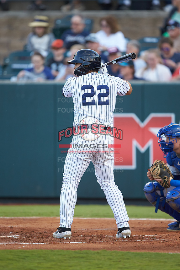 Antonio Cabello (22) of the Pulaski Yankees at bat against the Burlington Royals at Calfee Park on September 1, 2019 in Pulaski, Virginia. The Royals defeated the Yankees 5-4 in 17 innings. (Brian Westerholt/Four Seam Images)