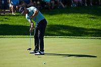4th June 2021; Dublin, Ohio, USA; Adam Scott (AUS) watdches his birdie attempt on 9 during the Memorial Tournament Rd2 at Muirfield Village Golf Club on June 4, 2021 in Dublin, Ohio.