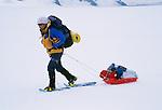 Trekker crossing the Patagonian icecap, Los Glaciares National Park, Argentina