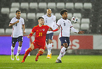 12th November 2020; Liberty Stadium, Swansea, Glamorgan, Wales; International Football Friendly; Wales versus United States of America; Weston McKennie of USA  controls the ball while under pressure from Dylan Levitt of Wales