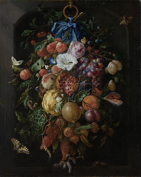 Festoon of Fruit and Flowers - by Jan Davidsz de Heem, 1660 - 1670