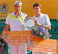 2013-08-17, Netherlands, Raalte,  TV Ramele, Tennis, NRTK 2013, National Ranking Tennis Champ,  Winners doubles: Sidney de Boer(L) and Daan Maasland<br /> <br /> Photo: Henk Koster