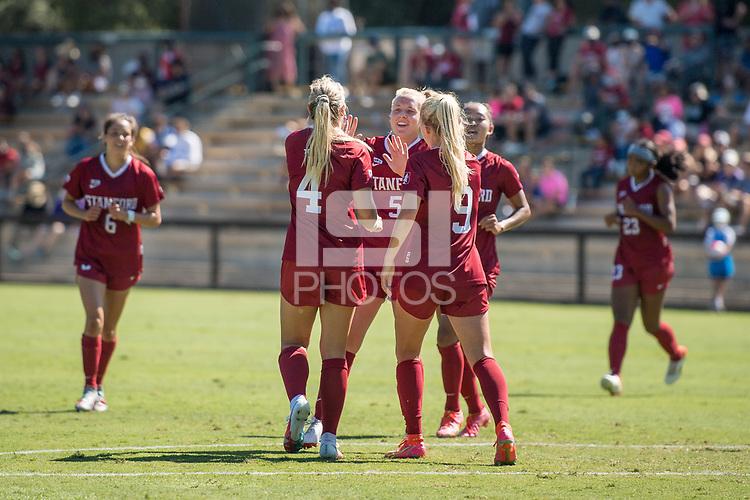 STANFORD, CA - SEPTEMBER 12: Belle Briede, Sierra Enge, and Astrid Wheeler during a game between Loyola Marymount University and Stanford University at Cagan Stadium on September 12, 2021 in Stanford, California.