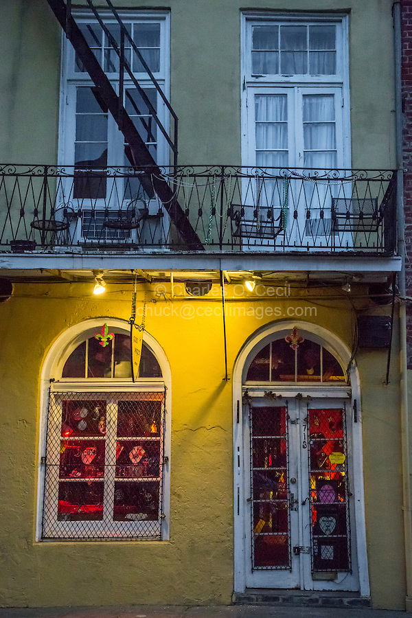 """French Quarter, New Orleans, Louisiana.  """"Glass Magick"""" Shop, Toulouse Street."""