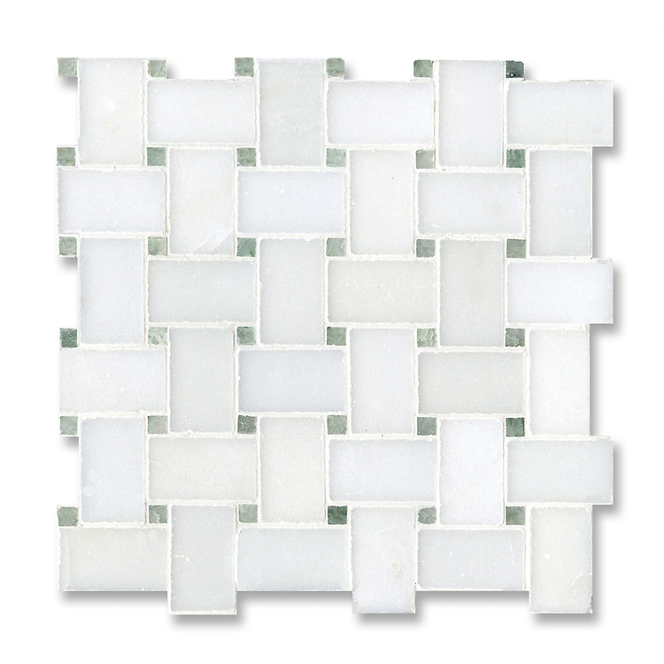 Basketweave, shown in honed Paperwhite and polished Ming Green is part of New Ravenna's Studio Line of ready to ship mosaics.