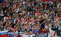 MOSCU - RUSIA, 11-07-2018: Hinchas de Croacia celebran el paso de su equipo a la final después del partido de Semifinales entre Croacia y Inglaterra por la Copa Mundial de la FIFA Rusia 2018 jugado en el estadio Luzhnikí en Moscú, Rusia. / Fans of Croatia celebrate the passs of their team to the fional after the match between Croatia and England of Semi-finals for the FIFA World Cup Russia 2018 played at Luzhniki Stadium in Moscow, Russia. Photo: VizzorImage / Julian Medina / Cont