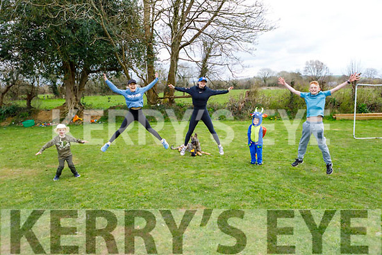 The Hourigan family from Currow at home doing their fun and fitness with social distancing on Monday. <br /> L to r: Kayden, Jordan, Esther, Ronan and Sean