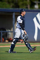 New York Yankees catcher Kyle Higashioka (38) during an Instructional League game against the Baltimore Orioles September 23, 2017 at the Yankees Minor League Complex in Tampa, Florida.  (Mike Janes/Four Seam Images)