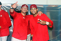 September 7 2008:  Jose Garcia and Frederick Parejo of the Batavia Muckdogs, Class-A affiliate of the St. Louis Cardinals, celebrate winning the Pinckney Division after a game at Dwyer Stadium in Batavia, NY.  Photo by:  Mike Janes/Four Seam Images
