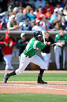 Dayton Dragons outfielder Junior Arias #24 during a game against the Bowling Green Hot Rods on April 21, 2013 at Fifth Third Field in Dayton, Ohio.  Bowling Green defeated Dayton 7-5.  (Mike Janes/Four Seam Images)