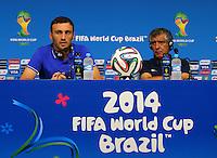 Vasileios Torosidis of Greece and coach Fernando Santos during a press conference ahead of tomorrow's fixture vs Costa Rica