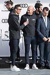 Cristiano Ronaldo and Zinedine Zidane of Real Madrid CF poses for a photograph after being presented with a new Audi car as part of an ongoing sponsorship deal with Real Madrid at their Ciudad Deportivo training grounds in Madrid, Spain. November 23, 2017. (ALTERPHOTOS/Borja B.Hojas)