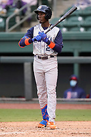 Shortstop Ronny Mauricio (2) of the Brooklyn Cyclones in a game against the Greenville Drive on Wednesday, May 12, 2021, at Fluor Field at the West End in Greenville, South Carolina. (Tom Priddy/Four Seam Images)