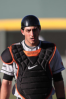 Parker Berberet #8 of the Oregon State Beavers during game against the UCLA Bruins at Jackie Robinson Stadium in Los Angeles,California on April 29, 2011. Photo by Larry Goren/Four Seam Images