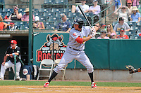 Kelly Dugan (11) of the Reading Fightin Phils bats during a game against the New Britain Rock Cats at New Britain Stadium on July 13, 2014 in New Britain, Connecticut. Reading defeated New Britain 6-4.   (Gregory Vasil/Four Seam Images)