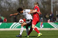 Etienne Amenyido (Deutschland, Borussia Dortmund) behauptet sich gegen Dominik Dinga (Serbien) - 25.03.2017: U19 Deutschland vs. Serbien, Sportpark Kelsterbach