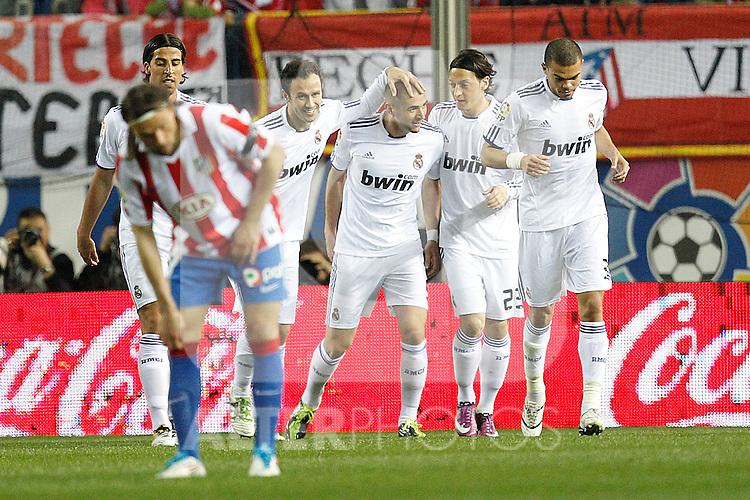 Real Madrid's Karim Benzema goal during la Liga match on 19 march 2011...Photo: Cebolla Cid-Fuentes / ALFAQUI
