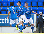 St Johnstone v Dundee....11.04.15   SPFL<br /> Brian Graham celebrates his goal with Simon Lappin and Brian Easton<br /> Picture by Graeme Hart.<br /> Copyright Perthshire Picture Agency<br /> Tel: 01738 623350  Mobile: 07990 594431