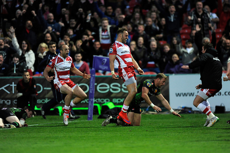 Bill Meakes of Gloucester Rugby celebrates scoring a dramatic try during the European Rugby Challenge Cup semi final match between Gloucester Rugby and Exeter Chiefs at Kingsholm Stadium on Saturday 18th April 2015 (Photo by Rob Munro)