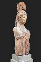 Caryatid of the Siphnian Treasury (525 B.C.) in Delphi museum, Greece