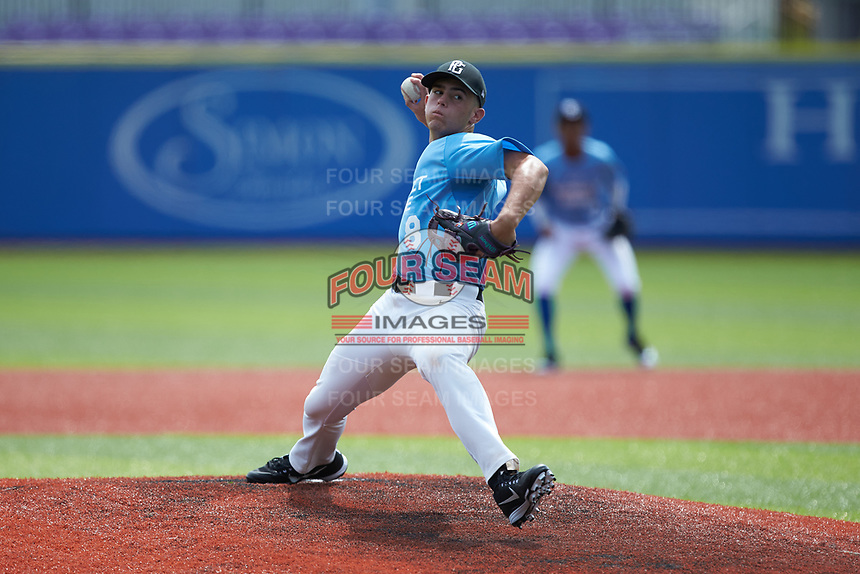 Joe Javier (8) of Cox Mill High School in Charlotte, NC during the Atlantic Coast Prospect Showcase hosted by Perfect Game at Truist Point on August 23, 2020 in High Point, NC. (Brian Westerholt/Four Seam Images)