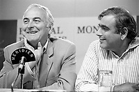 August 23, 1987 File Photo - Montreal (Qc) Canada  director James Ivory (L) and  producer Ismail Merchant (R)<br /> at 1987 Montreal  World Film Festival.<br /> <br /> Merchant Ivory Productions is a film company founded in 1961 by producer Ismail Merchant and director James Ivory