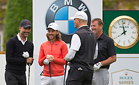 (l-r) Pep Guardiola (Manchester City Manager), Tommy Fleetwood, Peter Schmeichel (former footballer) & Matt Le Tissier (former footballer) during the BMW PGA PRO-AM GOLF at Wentworth Drive, Virginia Water, England on 23 May 2018. Photo by Andy Rowland.