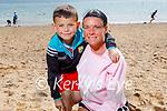 Charlie McCormack with his aunt Jennifer O'Mahoney enjoying Fenit beach on Sunday.
