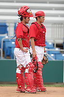 July 4th 2008:  Catchers Scott Thomas (22 - let) and Travis d'Arnaud (15) of the Williamsport Crosscutters, Class-A affiliate of the Philadelphia Phillies, before a game at Bowman Field in Williamsport, PA.  Photo by:  Mike Janes/Four Seam Images