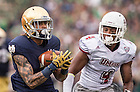 Sept. 26, 2015; Wide receiver Will Fuller runs for a touchdown in the first half against the University of Massachusetts. (Photo by Barbara Johnston/University of Notre Dame)