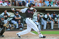 Wisconsin Timber Rattlers designated hitter Darren Seferina (9) swings at a pitch during a Midwest League game against the Clinton LumberKings on June 29, 2018 at Fox Cities Stadium in Appleton, Wisconsin. Clinton defeated Wisconsin 9-7. (Brad Krause/Four Seam Images)