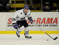 30 December 2007: Holy Cross Crusaders' forward Brodie Sheahan, a Sophomore from Lethbridge, Alberta, in action against the Western Michigan University Broncos at Gutterson Fieldhouse in Burlington, Vermont. The teams skated to a 1-1 tie, however the Broncos took the consolation game in a 2-0 shootout to win the third game of the Sheraton/TD Banknorth Catamount Cup Tournament...Mandatory Photo Credit: Ed Wolfstein Photo