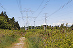 Power Lines and towers march across the landscape.  Sunny skes and scattered clouds. Hiking and mountain bike trails follow the right of way.