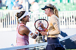 August 2, 2019: Donna Vekic (CRO) shakes hands with Kristie Ahn (USA) after defeating her 7-5, 6-0 in the quarterfinals of the Mubadala Silicon Valley Classic at San Jose State in San Jose, California. ©Mal Taam/TennisClix/CSM
