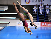Canada's Francois Imbeau-Dulac and Jennifer Abel compete in the mixed 3m synchro springboard <br /> <br /> Photographer Hannah Fountain/CameraSport<br /> <br /> FINA/CNSG Diving World Series 2019 - Day 3 - Sunday 19th May 2019 - London Aquatics Centre - Queen Elizabeth Olympic Park - London<br /> <br /> World Copyright © 2019 CameraSport. All rights reserved. 43 Linden Ave. Countesthorpe. Leicester. England. LE8 5PG - Tel: +44 (0) 116 277 4147 - admin@camerasport.com - www.camerasport.com