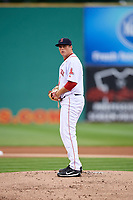 Salem Red Sox starting pitcher Jake Thompson (41) gets ready to deliver a pitch during the first game of a doubleheader against the Potomac Nationals on June 11, 2018 at Haley Toyota Field in Salem, Virginia.  Potomac defeated Salem 9-4.  (Mike Janes/Four Seam Images)