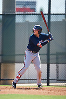 Atlanta Braves Greyson Jenista (38) at bat during a Florida Instructional League game against the Philadelphia Phillies on October 5, 2018 at the Carpenter Complex in Clearwater, Florida.  (Mike Janes/Four Seam Images)