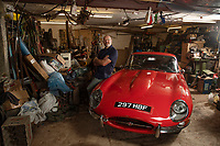 BNPS.co.uk (01202) 558833.<br /> Pic: Zachary Culpin/BNPS<br /> <br /> Pictured: Mike Lucas with the E-Type Jaguar in garage where he finished restoring the car<br /> <br /> A classic E-Type Jaguar a mechanic bought 43 years ago from a dentist for £1,500 is now tipped to sell for £75,000.<br /> <br /> Mike Lucas set his heart on the legendary British sports car after seeing the late Jimmy Hill drive one while manager of Coventry City.<br /> <br /> The 'beautiful' 1962 E-type Series I coupe was found to be a 'jumble of 1,000 parts' when Mike answered an advert for it in 1978.<br /> <br /> It took him over 30 years to repair and restore the bright red motor to its former glory.