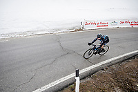 Chris Hamilton (AUS/DSM) coming over the Passo Giau<br /> <br /> due to the bad weather conditions the stage was shortened (on the raceday) to 153km and the Passo Giau became this years Cima Coppi (highest point of the Giro).<br /> <br /> 104th Giro d'Italia 2021 (2.UWT)<br /> Stage 16 from Sacile to Cortina d'Ampezzo (shortened from 212km to 153km)<br /> <br /> ©kramon