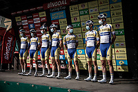 Team Sport Vlaanderen-Baloise pre race team presentation<br /> <br /> Antwerp Port Epic 2020 <br /> One Day Race: Antwerp to Antwerp 183km; of which 28km are cobbles and 35km is gravel/off-road<br /> Bingoal Cycling Cup 2020